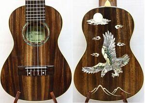 Solid Acacia Koa Classical Head Tenor Guitarlele, Eagle MOP Inlay, Case, HU1228