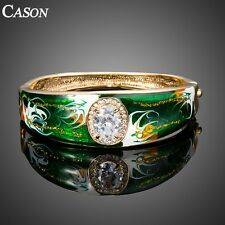 Oil Painting Big Clear Cubic Zirconia Cuff Bracelet Austrian Crystal Bangle