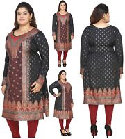PLUS SIZE Women Indian Printed Kurti Tunic Casual Kurta Shirt Dress Eplus107A
