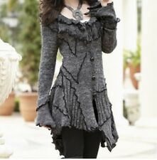 Ladies Women's Winter Fall Spring long Ruffle Sweater Coat jacket size M 8 /10