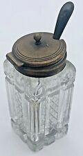 Vintage Crystal Glass & Silver Plate Lid Jam Mustard Sugar Jar Pot & Spoon Set
