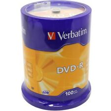 100 Genuine Verbatim Blank DVD-R 16x 4.7GB DVD Non Printable Discs 43549 Cakebox