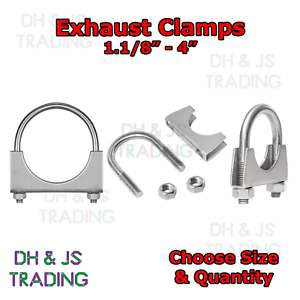 """Universal U Bolt Exhaust Clamps Heavy Duty All Sizes 1/8 1/4 1/2 3/4"""" Inches"""