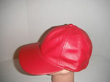 5175a86bc1a RED 100% LEATHER BASEBALL CAP HAT SMALL