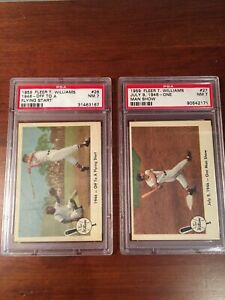 1959 Fleer Ted Williams (#26) Flying Start And (#27) One Man Show Both PSA 7 (NM
