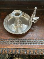 ANTIQUE SILVER PLATE ATKINS BROTHERS CANDLE STICK HOLDER AND SNUFFER
