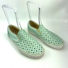 Vans Off The Wall Mint Green Leather Womens Perforated slip ons Size Womens 9