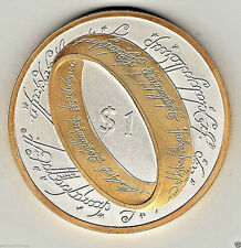 Lord of the Rings Coin Silver & Gold 1 Dollar Film Novel Book Movie Medal Unique
