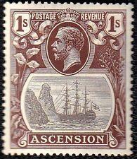 ASCENSION GEORGE V 1924 SG 18c 1s GREY-BLACK&BROWN CLEFT ROCK VAR 1ST STATE MINT