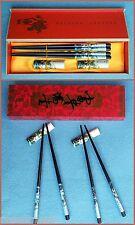 6tlg. Bambus Essstäbchen-Set   4 Essstäbchen 2 Ablagebänkchen  Chopsticks