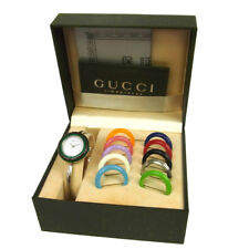 Authentic GUCCI Vintage Change Bezel Quartz Wristwatch Bangle Silver AK17225h