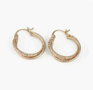 """SALE 9K 9ct """"Gold Filled"""" Slightly Twisted 23mm Hoops Earrings Free Pouch Gift"""