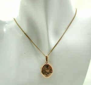 Very Pretty 9 Carat Rose Gold Engraved Locket And Chain