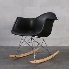 2Pcs Black Rocking Chairs  Rocker Armchairs Retro Modern Lounge Dining Furniture
