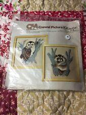 Erica Wilson Owl & Racoon Crewel Embroidery Kit
