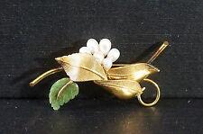 Vintage Gold Filled Carved Jade Pearl Brooch Pin Delicate Signed Jms