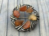 Wreath Brooch Silver Tone Orange Glass Chips Vintage Celtic Jewellery Garland