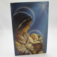 Mary And Child Religious 16 Christmas Card Glitter Embellished American Greeting
