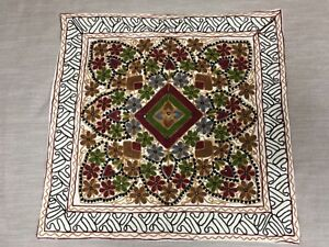 XL cushion cover floral chain embroidered mirrored canvas floor seat boho