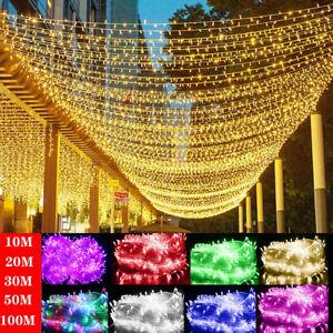10m-100m Strom Lichterkette LED Außen Innen Garten Party Weihnachtsbeleuchtung