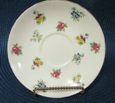 "Crown Staffordshire Bone China Saucer Rose Pansy Pattern 5 5/8"" England GUC"