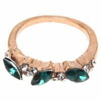2X(Luxus Frauen Damen Smaragd Strass Kristall Finger Dazzling Ring Schmuck Z6S7)