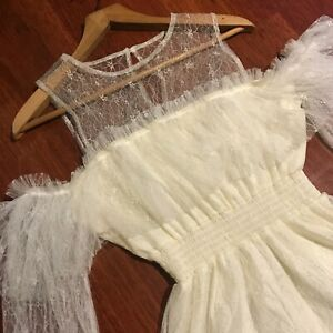 Cream Chantilly lace high neck off the shoulder playsuit romper Size L
