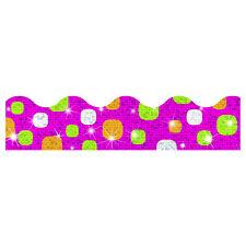 Super Dots Razzberry Sparkle Trimmers - Classroom Notice Display Borders 12M