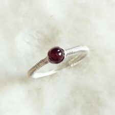 Garnet Sterling Silver Wirewrap Ring January Birthstone Deep Red Handmade Size J