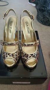 Colin Stuart Heels Shoes Slingback Mary Jane tan gold Patent Womens Leopard 7 VS
