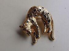 vintage old brooch cat brooch pendant panther gold tone