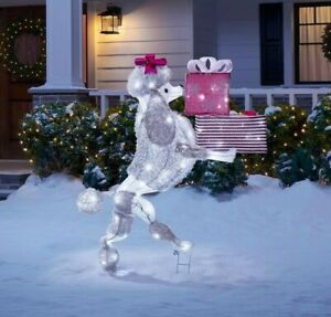 """42"""" Lighted LED Poodle with Presents Sculpture Christmas Yard Decor"""