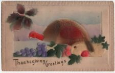 Early Thanksgiving Greetings PC, A Hen Turkey With Fruits & Vegetables, Airbrush