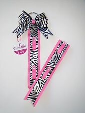 Cheer bow holder for hair accessories - Pink with black & silver zebra print