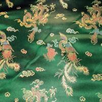 DRAGON BOTTLE GREEN CHINESE ORIENTAL BROCADE Silky Satin Dress Fabric 90cm wide