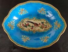 1930s EMAUX DE LONGWY FRANCE REHAUSSE LARGE BOWL PLATE MAJOLICA PEACOCK BIRD