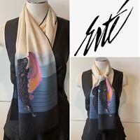 ERTE Vintage Silk Art Deco 'Beauty & The Beast' Long Scarf 29x131cm HandrollHem