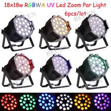 Led Zoom Par 10-60 Degree 18x18w RGBWA UV 6in1 DMX 11CH DJ Stage Light 6pcs