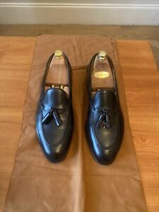 Edward Green Men's Belgravia Leather Shoes 10E Black Leather Soles Shoe Trees