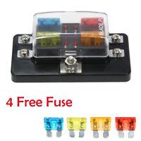 4 Way Blade Fuse Box Block Holder LED Indicator for Car Marine Automotive F7G3