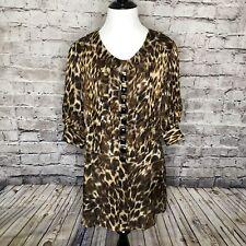 Alberto Makali Animal Print Button Sequin Placket Silk Tunic Top Size Medium