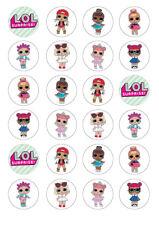 24 LOL Dolls 4cm round cupcake edible images