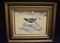 Vintage Sandpiper Birds On The Beach Oil Painting Unknown Artist