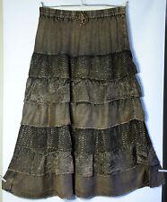 Brown Gypsy Boho Full length Tiered Skirt Plus size XXL 2X Hippy Bohemian style