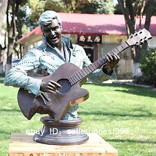 Western Bronze Marble Statue Elvis playing guitar Art Deco Sculpture