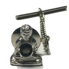 Swank Buddha Tie Tack With Chain Silver Tone with Black Green Rhinestone