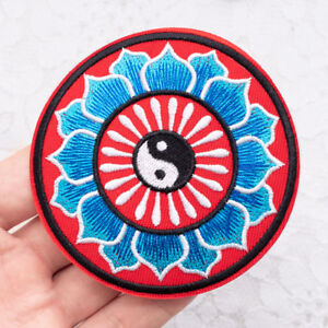 Tai chi Flower Circle Patch Embroidered Sew On Iron On Badge Fabric Craft Bag