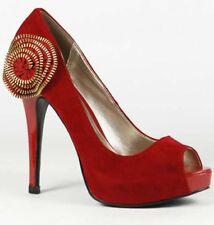 Red Velvet High Stiletto Heel Peep Toe Platform Pump Women Shoes 8 us