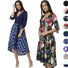 Chelsea Clark Women's High-Low Asymmetric Hem Empire Waist Dress V-Neck 695