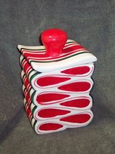 Ceramic Striped Candy Cookie Jar & Lid Christmas Dolgencorp Inc Cute Decoration
